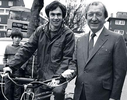 DEAL MAKERS: Casually attired Tony Gregory and a besuited Charles Haughey near Dublin's Five Lamps in 1982