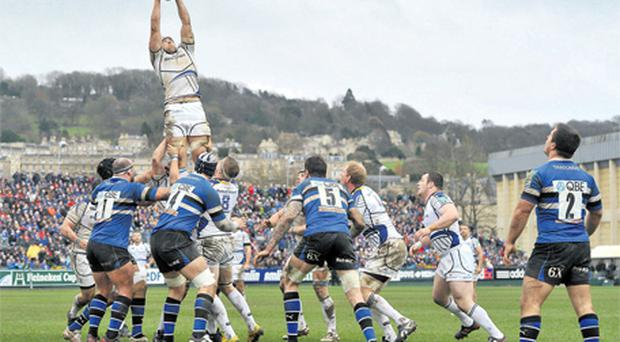 Leinster's Kevin McLaughlin wins possession from a lineout during yesterday's Heineken Cup clash against Bath at The Rec