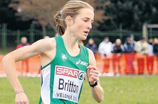 Fionnuala Britton on her way to winning the senior women's event at the European Cross Country Championships yesterday