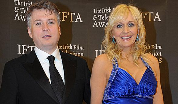 Glamming it up: Miriam O'Callaghan with husband Steve Carson, RTE's acting current affairs chief