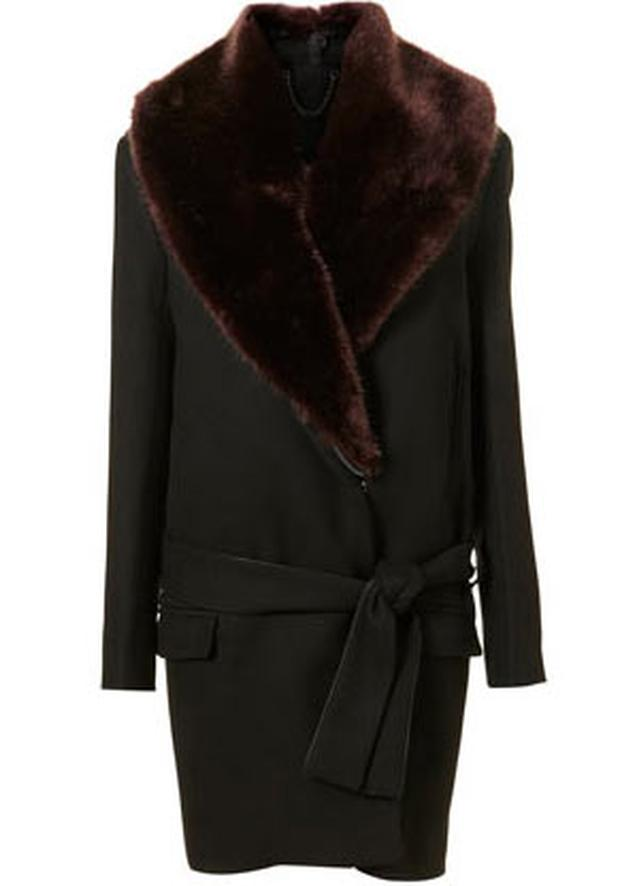 Fur collar belted coat from topshop.com £280