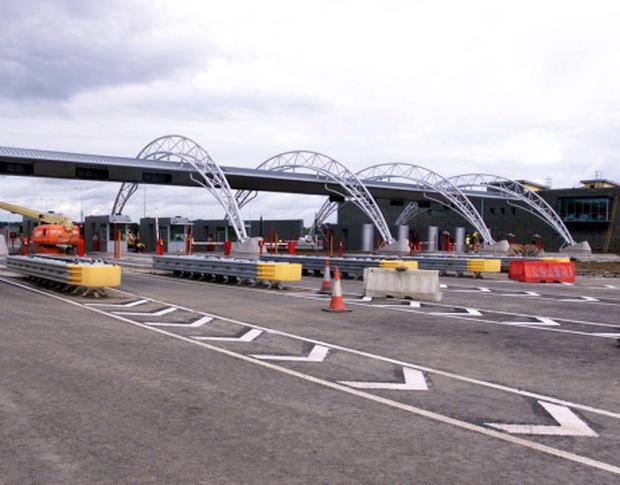 The toll booths on the M1 motorway.