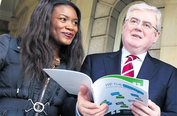 Zainab Husseini, who took part in a pilot citizens' assembly, pictured with Tanaiste