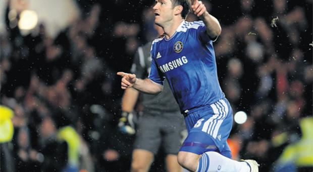 Chelsea substitute Frank Lampard celebrates his winning goal at Stamford Bridge last night
