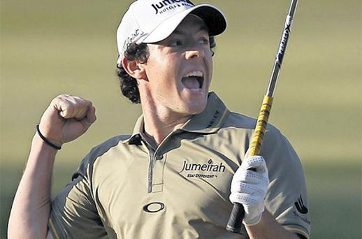 Rory McIlroy celebrates his dramatic Hong Kong Open win