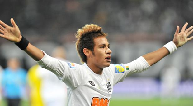 Santos striker Neymar celebrates his goal against Kashiwa Reysol during their semi-final football match of the Club World Cup. Photo: Getty Images