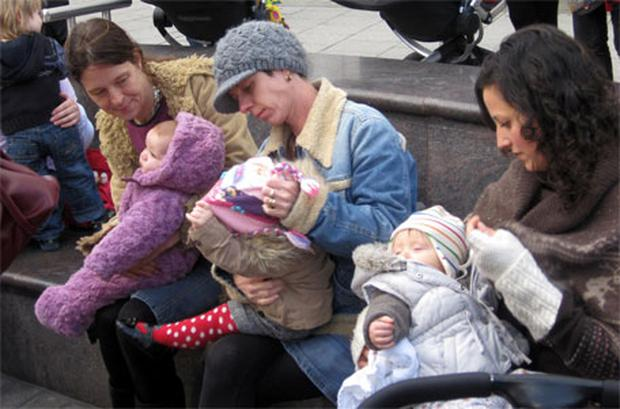 Mothers in Brighton who staged a breastfeeding flashmob demonstration in the city centre today to declare their right to feed their babies in public. Photo: PA