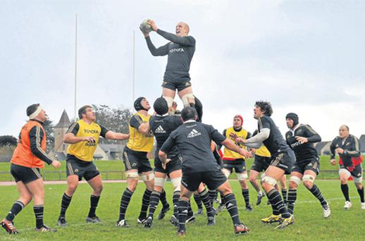 Paul O'Connell rises above his Munster team-mates to win lineout possession during squad training yesterday ahead of their Heineken Cup clash with the Scarlets on Sunday. Photo: Sportsfile