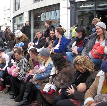 Mothers in Brighton stage a breastfeeding flashmob demonstration in the city centre
