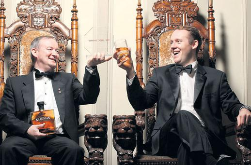 Master Distiller Noel Sweeney and managing director Jack Teeling celebrate in London after the Cooley was named European Distiller of the year in London last month.