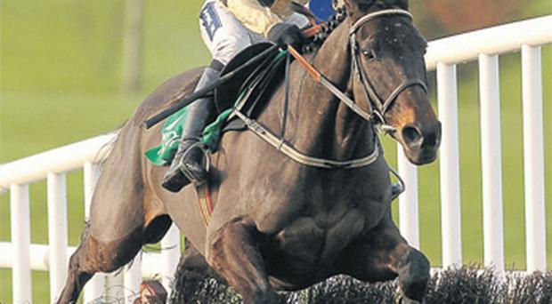 Boston Bob and Ruby Walsh sail over the final flight on their way to victory in yesterday's Grade 1 Navan Novice Hurdle