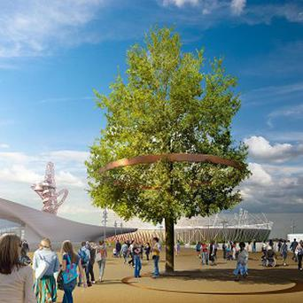 Image of how a tree on the Olympic site in east London will look once it is turned into a work of art