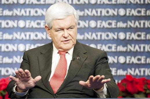 Although Mr Gingrich remains in the lead in Republican national polls, the gap between him and Mitt Romney, the party establishment favourite, is closing. Photo: Getty Images