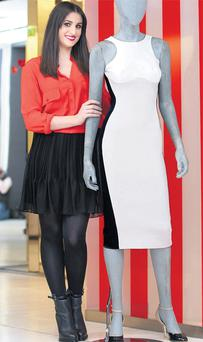 BT's Stacey O'Donnell with the 'Miracle' dress in the Dublin store yesterday