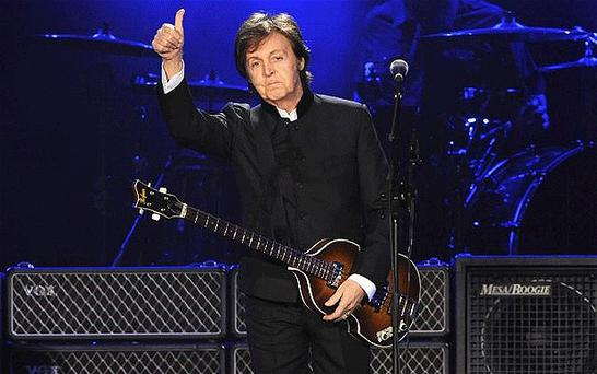 Thumbs-up: Paul McCartney played songs from his Beatles, Wings and solo days