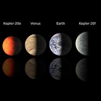 A planetary 'line-up' depicting the Earth-sized extrasolar planets Kepler-20e and Kepler-20f (Harvard-Smithsonian Centre for Astrophysics)
