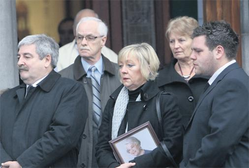 Gary Glenn (son), Suzanne Glenn (daughter-in-law) and Alan Glenn (grandson) at the funeral of Alice Glenn yesterday