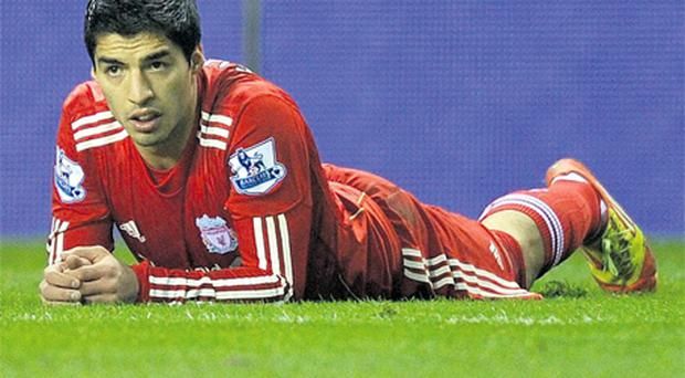 It proved a frustrating night for Luis Suarez as Liverpool failed to score