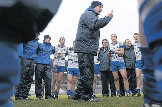 Monaghan manager Eamon McEneaney, as captured in Sportsfile's Season of Sundays, is among the county bosses facing a hectic schedule next month