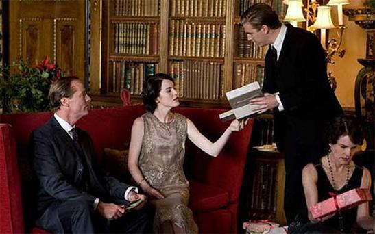 Downton at Christmas, from left: Sir Richard Carlisle, Lady Mary, Matthew Crawley and Lady Cora
