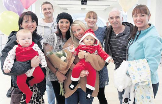 Marie Smith, Sarah Rose Nolan, Ciaran Brennan, Nicola Smith, Susan McFarlane, TJ Costello, Ciara McFarlane, Paddy Smith and Gillian Smith at Dublin Airport