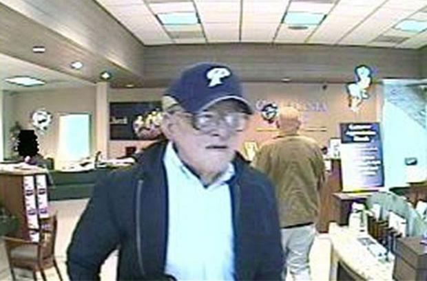 An image distributed by the FBI of the suspect nicknamed the Geezer Bandit in the process of robbing a bank. Photo: AP