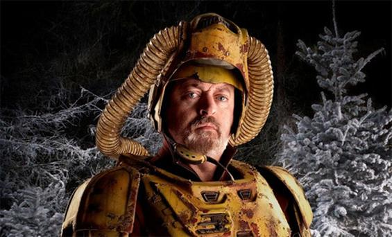 Bill Bailey in 'futuristic forestry worker' guise on the set of Doctor Who. Photo: BBC