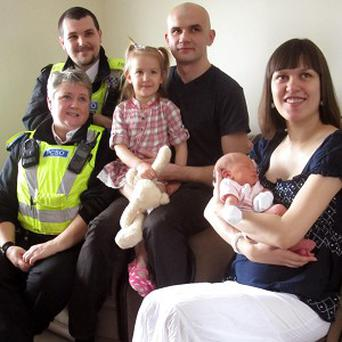 Baby girl Viktorija Munkova was delivered by the roadside with the help of two community support officers