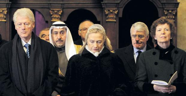Former President Mary Robinson at Vaclav Havel's funeral yesterday with (from left to right) ex-US president Bill Clinton and his wife Hillary, with ex- British prime minister John Major