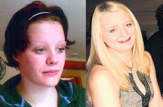 Monica Riordan, right, who is missing since last Tuesday, and, left, Naomi Whittington (16), missing since Wednesday. Gardai have appealed to the public for help in finding the two.