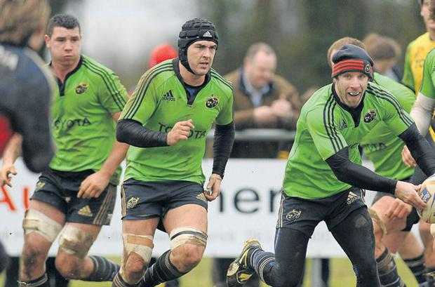 Munster's Tomas O'Leary in action during training last week ahead of their game against Connacht tonight. Photo: DIARMUID GREENE / SPORTSFILE