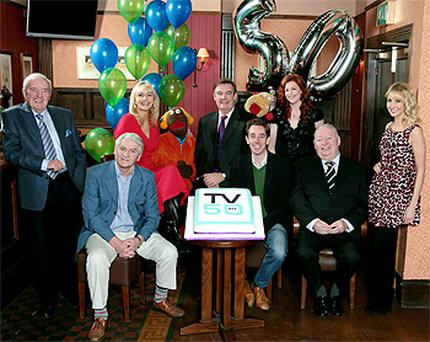 At the launch of RTE's programme to mark its 50th anniversary were, from left, Bill O'Herlihy, Jim Bartley, Miriam O'Callaghan, Zag, Brian Dobson, Ryan Tubridy, Zig, Blathnaid Ni Chofaigh, Bunny Carr and Emma O'Driscoll.