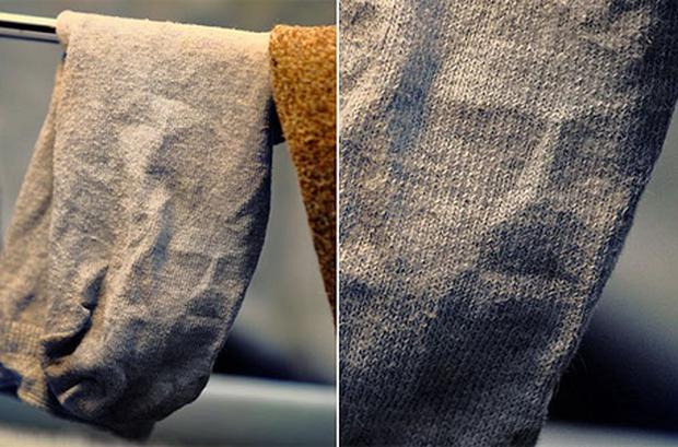 The creased sock which is supposed to resemble the face of Jesus