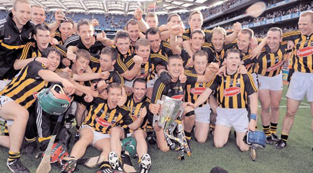 Kilkenny players celebrate after the final whistle