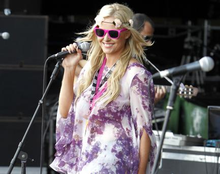 Amanda Brunker on stage with Gitano on the Vodafone Stage at OXEGEN 11