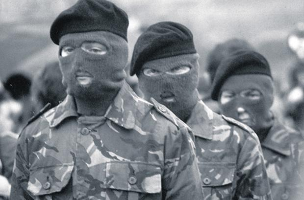 Masked IRA men at the funeral of Bobby Sands in May, 1981