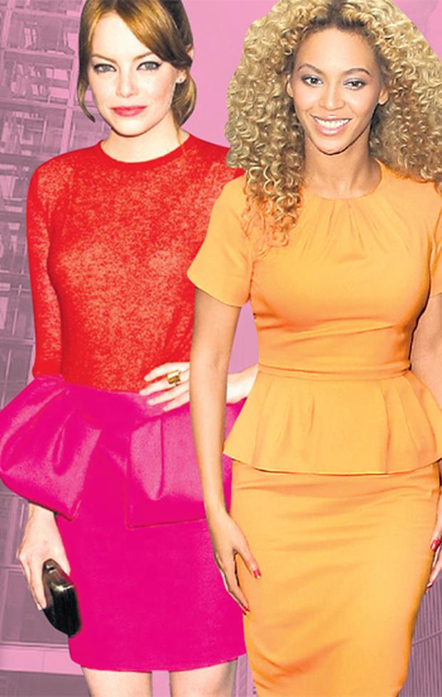 Ruffles: Emma Stone and Beyonce have embraced the peplum dress, with more than a hint of the 1980s