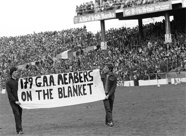 A banner supporting the hunger strikers is displayed in Croke Park, Dublin, before the Kerry v Offaly All-Ireland football final in 1981