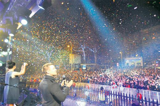 Thousands rang in the new year in College Green