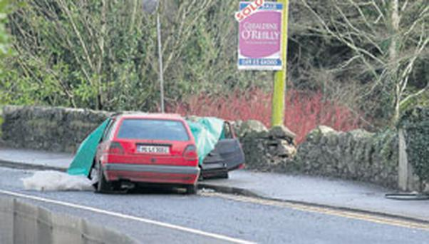 The scene of the crash near Virginia, Co Cavan, where Gary Morgan died in the early hours of yesterday morning. Photo: LORRAINE TEEVAN