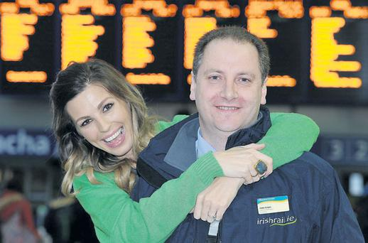 CONNOLLY Station manager Eddie Halpin gets a hug from Aoife Cogan