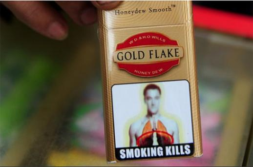 What appears to be a slightly blurred image of John Terry's face has appeared as part of anti-smoking pictorial warnings for use on cigarette packets in India