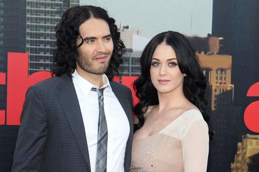Russell Brand and Katy Perry arrive at the UK premiere of 'Arthur' in London . Photo: Getty Images
