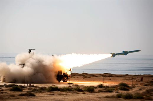 A long- range shore- to- sea missile called Qader (Capable) is launched by Iranian forces yesterday. Photo: Reuters