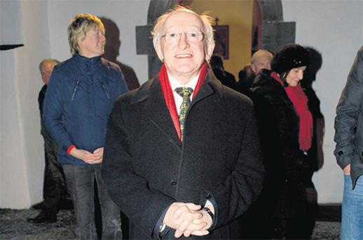 President Michael D Higgins at the removal of Katherine Whelan, mother of Attorney General Maire Whelan, in Kinvara, Co Galway last night