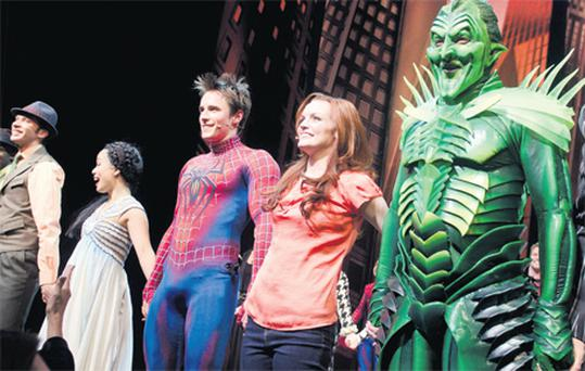 The cast of 'Spider-Man' after the opening night performance last June