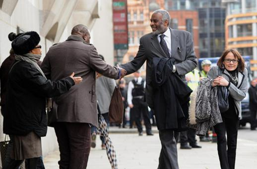 Stephen Lawrence's father Neville arrives at the Central Criminal Court, London. Photo: PA