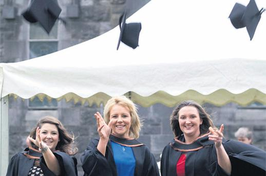 From left: Tivoli Swail from Wicklow, Ciara O'Donoghue from Clonmel and Sandra Watchorn from Kilkenny, at a conferring ceremony at Waterford Institute of Technology yesterday