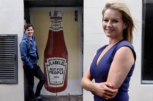 Broadcaster and See Change ambassador Claire Byrne and Royseven frontman Paul Walsh unveil specially commissioned street art
