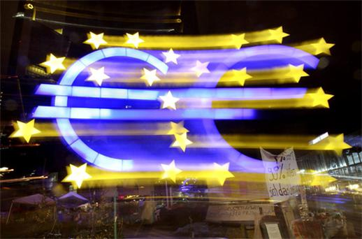 The Euro sculpture at the European Central Bank in Frankfurt, Germany, photographed on the first day of the new year. Photo: AP